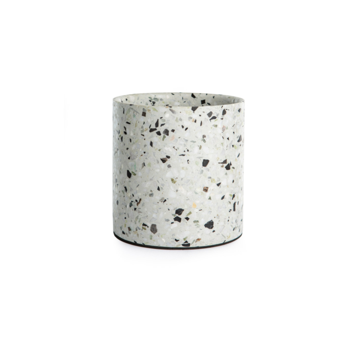 Terrazzo pot medium white