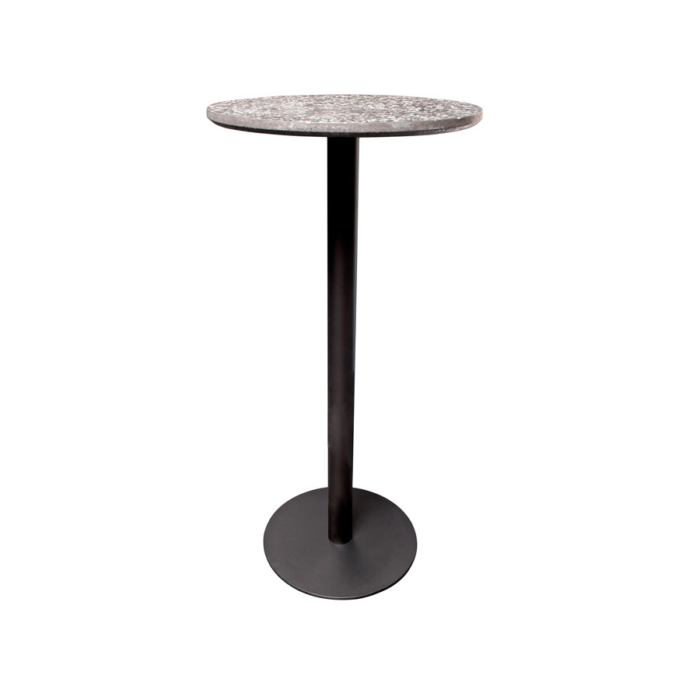 Terrazzo Table Round high black